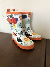 Sun Squad Kids Rain Boots - Animals White/Orange - Toddler Large (9-10) - NEW