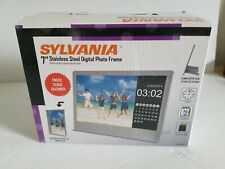 Sylvania 7 Inch Stainless Steel Digital Photo Frame with LED Screen SDPF7977-b