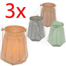 SET OF 3 GLASS WIND TEA LIGHT HOLDER CANDLE WITH HANDLE DECOR HOME 14CM GIFT NEW