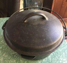 "Vintage Dutch Oven Cast Iron 4qt w/ Lid Self Basting 10"" Camping Bean Pot"