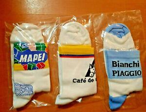 3 x STOCK RETRO VINTAGE CYCLING TEAM BIKE CYCLE SOCKS  (mapei,colombia,bianchi)