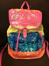 JUSTICE BRIGHT MULTI COLOR RAINBOW FLIP SEQUINS RUCKSACK/BACKPACK SPARKLY CUTE