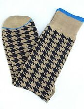 Lord R Colton Taupe & Navy Check Dress Socks - $28 Retail - Brand New
