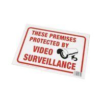 "Surveillance Sign, Plastic, White, 8.5"" x 12"""