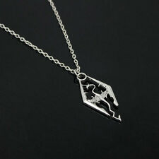 Ancient Silver The Elder Scrolls Logo Skyrim Dragon Pendant Charm Necklace Chain