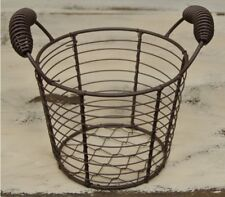 NEW PRIMITIVE COUNTRY METAL MESH BASKET WITH HANDLES Farmhouse Decor