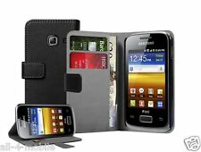 Black Leather Wallet Flip Case for Samsung S6102 Galaxy Y Duos - Cover Pouch