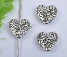 50Pcs tibet silver alloy heart-shape Spacer Beads 9MM diy findings