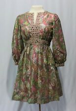 Vintage 60s 70s mini Dress Metallic Pastel Pink Rhinestones Tygier New York