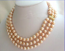 3 rows 8-9mm round pink south sea pearls necklace 11''18''19'' 14K clasp