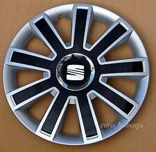"Silver/Black 15"" wheel trims, Hub Caps, Covers to fit Seat Ibiza,Leon"