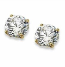 Lab-Created Excellent Cut Yellow Gold Fine Diamond Earrings