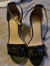 c6a5d1286aaf MICHAEL Michael Kors Bella Black Ruffled Leather Wedge Sandal Sz 10