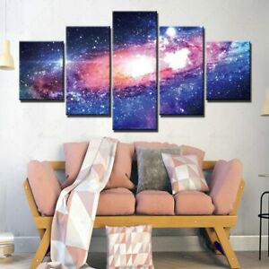 5 Panel Framed Galaxy Universe Star Space Decor Canvas Picture Wall Art HD Print