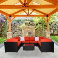 9 PC Patio Wicker Sofa Set Furniture Garden Outdoor Poolside Yard Sectional Sofa