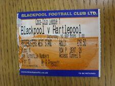 10/09/2005 BIGLIETTO: Blackpool V Hartlepool United. questo oggetto è stato ispezionato,