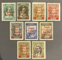 Turkey 1934 Surcharged Smyrna (Izmir) Fair COMPLETE SET SG #1162/1170