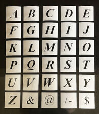 Italic Alphabet Stencil Individual Letters A - Z 40mm up to 200mm high - Mylar