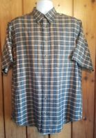 Lot of 2 Roundtree & Yorke short sleeve button down plaid shirts size Large