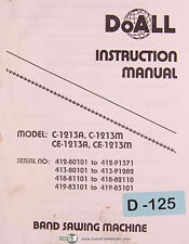 Doall C 1213a C1213m Ce1213a Ce1213m Band Saw Machine Instructions Manual 1982