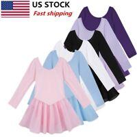 US Girls Gymnastics Leotard Tutu Dress Ballet Dance Kids Stage Dancewear Costume