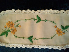 Lovely Tangerine Flowers  Vintage Hand embroidered Sandwich Doily