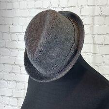 Quiksilver Fedora Hat Gray Tweed Wool Blend Metal Logo size S/M