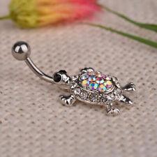Turtle Tortoise Crystal Belly Bar Drop Piercing Button Ring Crystal Reverse Bar