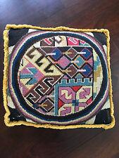 Antique Hollywood Regency English Woven Knit Folk Art Pillow