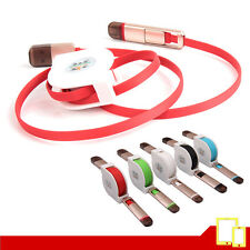 Cable USB / 2 en 1 Android y Apple Retractil de Carga / Sinc. Varios colores