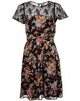 MONSOON CHERRY PIE BLACK MULTI COLOUR FLORAL PRINT DRESS rrp £69 Size 8