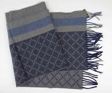New Gucci Diamante Blue Angora Lana Wool Scarf with Web Stripe
