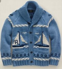 $895 New RRL Ralph Lauren Large Hand Knit Cardigan Nautical Sailing Blue Sweater