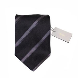 Men's Tom Ford Linen Silk Charcoal Gray Diagonal Striped Neck Tie MSRP $240