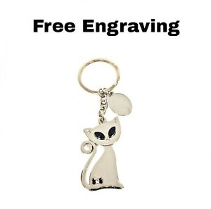Personalised Siamese Cat Keyring | Engraved Message Tag & Gift Bag Included