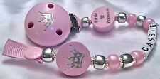 ♕ Personalised DUMMY CLIP Your Name Choice ♕ LITTLE PRINCESS ♕ Silver and Pink ♕