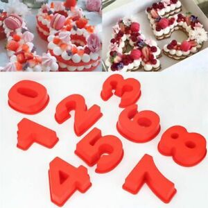Large Silicone Number Cake Molds Pan Birthday Party Cake Baking Decor Mould Tray