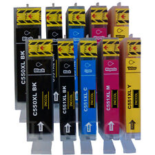10 Replacements for Canon PGI-550 / CLI-551 XL HIGH YIELD printer ink cartridges