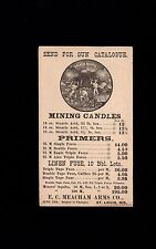 Meacham Arms Co Gun Catalogue Miner Candles Primers Fuses St. Louis 1885 Card 7n