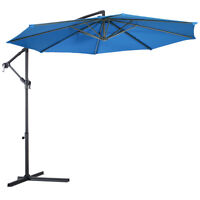 10' Hanging Umbrella Patio Sun Shade Offset Outdoor Market W/ Cross Base Blue