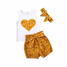 Newborn Baby Girl Outfit Heart Shaped Vest Floral Shorts Headband Summer Clothes