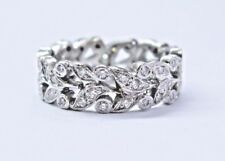 Platinum Round Cut Diamond Floral Design Eternity Band Ring .55Ct 6.5mm Size 5.5