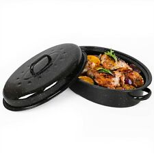 VonShef Roaster Enamel Self-Basting Roasting Pot With Lid - Black Tin