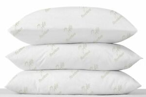 LUXURY PAIR OF BAMBOO ANTI-BACTERIAL ANTI-ALLERGY NECK BACK SUPPORT BED PILLOWS