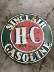 "VINTAGE ORIGINAL 48"" SINCLAIR H-C GASOLINE PORCELAIN SIGN GAS & OIL ADVERTISING"