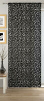 Black Lace Willow Lace Sheer Voile Net Curtain Ready Made Slot Top Single Panel