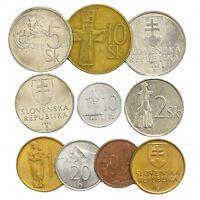 MIXED LOT 10 SLOVAK COINS SLOVAKIA OLD COINS HALIEROV, KORUN 1993-2008