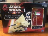 Hasbro Star Wars Episode I Armored Scout Tank W/ Battle Droid Mib Action Figure