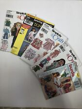 "Five Sewing Patterns For Doll Clothes; 18"" doll, 3 sz baby dolls, Barbie"