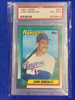 1990 Topps Juan Gonzalez Texas Rangers RC #331 PSA 8 NM-MT Rookie Card